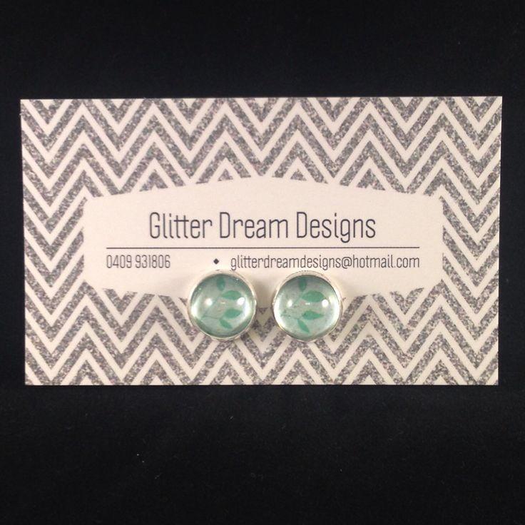 Order Code D16 Green Cabochon Earrings