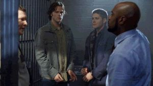 tee hee hee GIF Just scroll down a bit.  How does this show even get filmed?  I love this blooper, mainly because of the fact it looks so spontaneous. Jensen notices what Jared is doing and just goes with it