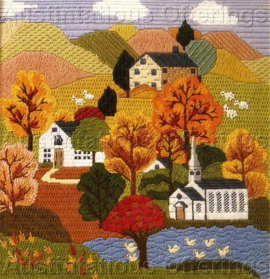 autumn leaves needlepoint design | ... ERICA WILSON FOLK ART VILLAGE AUTUMN HILLS TEXTURED NEEDLEPOINT KIT