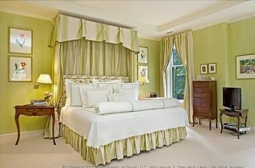 1525 N State Pkwy, Chicago IL  For sale: $6,995,000    A mix of yellow and green, chartreuse was named after a French liqueur of the same color. This bedroom in Chicago appears to be French-influenced as well, with grand ceiling moldings, Queen Anne-style furniture and a striking master bed. The rest of the Chicago home for sale features a paneled library, six fireplaces and landscaped terrace.