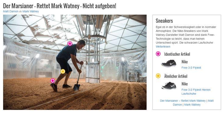 Egal ob in der Schwerelosigkeit oder in normaler Atmosphäre: Die Nike-Sneakers von Mark Watney-Darsteller Matt Damon sind dank Free-Technologie so leicht, dass man keinen Unterschied spürt. Die schwarzen Laufschuhe überzeugen aber auch äußerlich durch die dynamisch wirkende, gezackte schwarz-weiße Sohle und den leicht glänzenden schwarz-grauen Webstoff mit raffinierter Struktur. Für einen sportlichen Style sind sie so die perfekte Ergänzung. Aber auch mit den aktuellen Modetrends lassen…