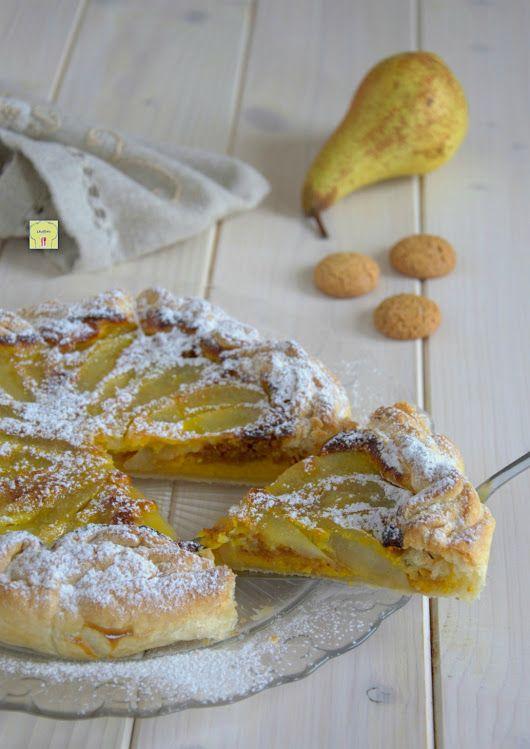 Torta di sfoglia pere e amaretti, torta con pasta sfoglia