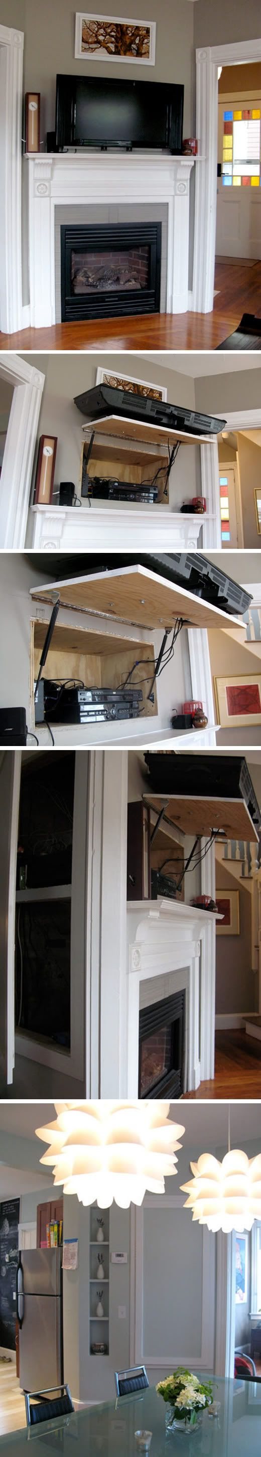 pretty much GENIUS!  There is even additional storage space and access to cables from the other side of the wall, that when closed, is not an obvious closet! Well done.