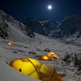 Moonlight winter camping