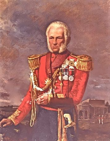 Maj-Gen Sir Hugh Wheeler was garrison commander at Kanpur (''Cawnpore'' in colonial English). In June 1857, his sipahis rebelled, looted the treasury & laid siege to Wheeler's garrison. He retreated to an entrenchment outside the city. Nana Sahib, offered safe conduct to the River for all, & boats to take them to Allahabad. Wheeler accepted, & 2 days later all marched out towards the Ghat. A shot was heard. Nana's men cut all down including Wheeler.