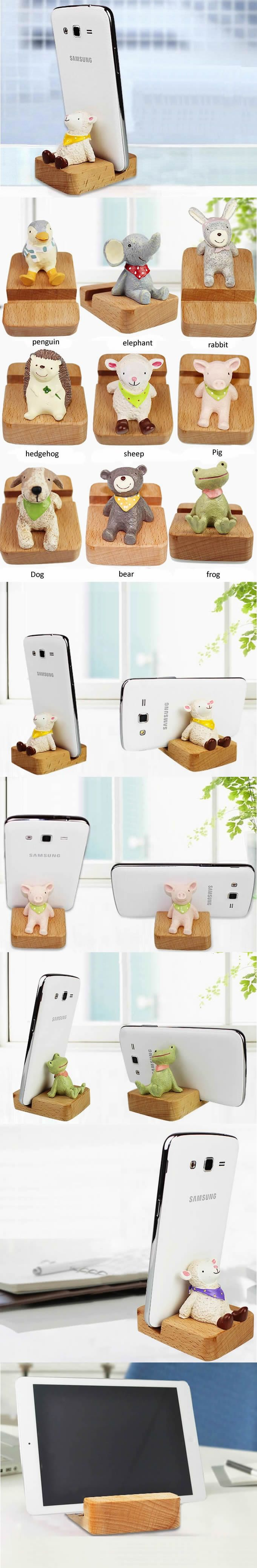 Wooden Desktop IPhone, PDA, SmartPhone Stand Holder Rack Display With Animal