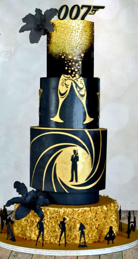Black & Gold 007 Cake