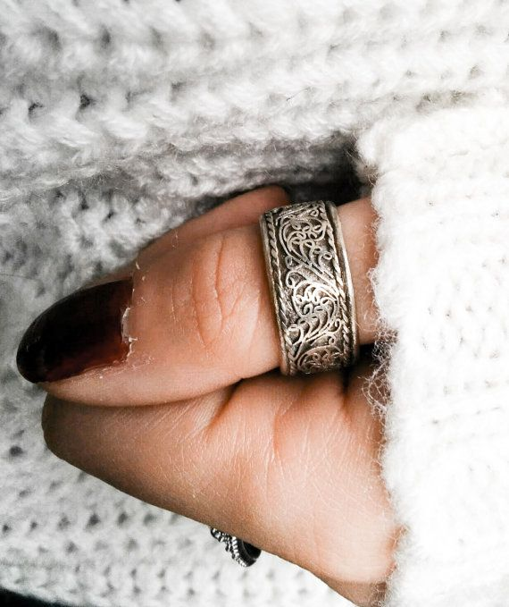 Tibetan mantra ring  Tribal Gypsy Lotus filigree ring by Meebird