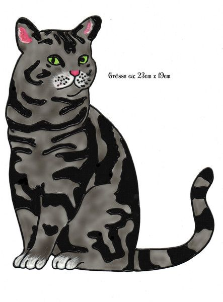 Fensterschmuck - Window Color Bild Schwarz graue Katze (237)  - ein Designerstück von ihr_bastelshop bei DaWanda