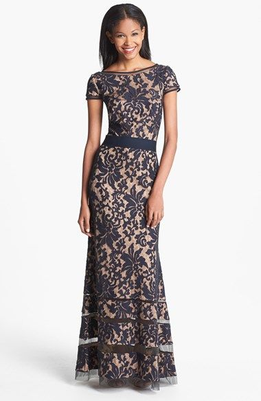 Tadashi+Shoji+Cap+Sleeve+Lace+Gown+available+at+#Nordstrom