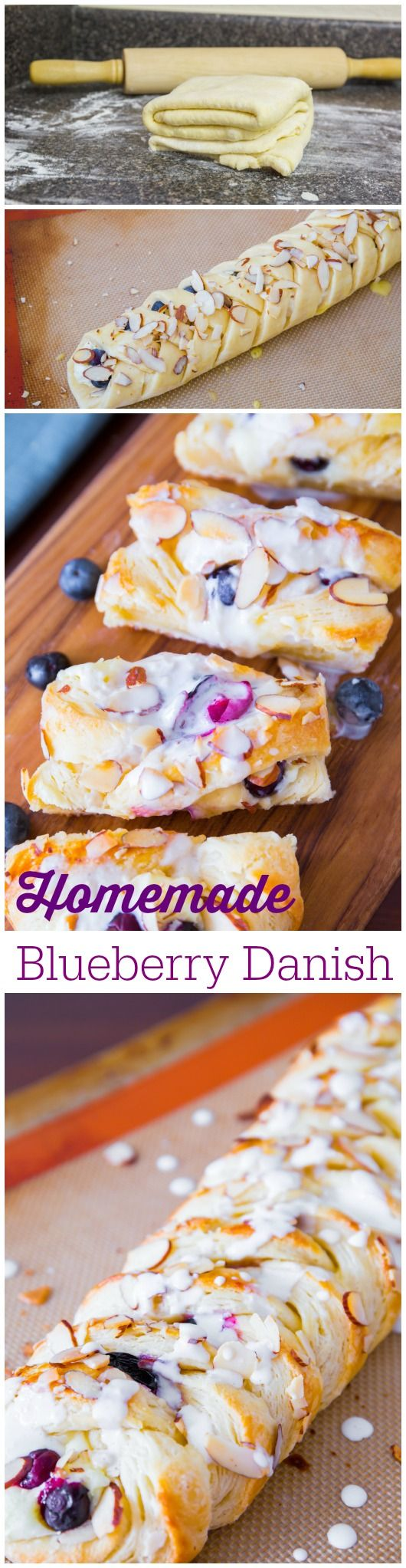"""Homemade Cream Cheese Blueberry Danish made from my favorite """"quick method"""" pastry dough! It's unbelievable."""