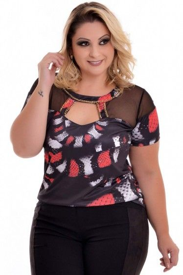 Blusa Plus Size Red Snake