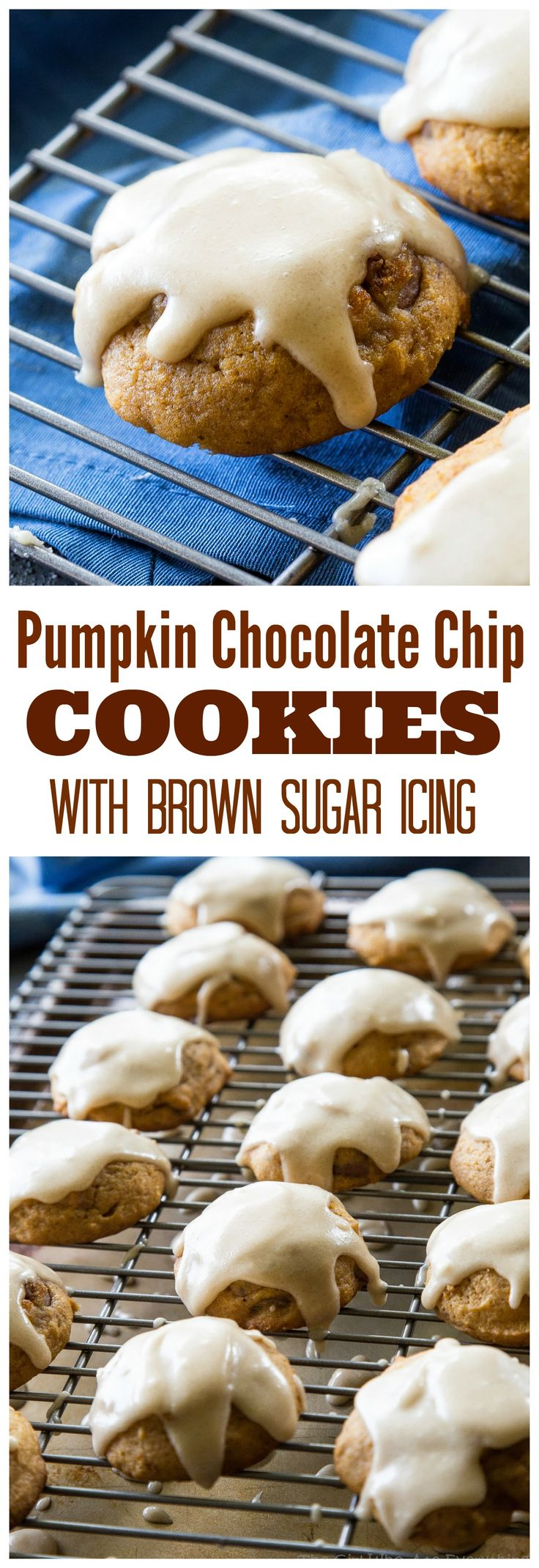 Pumpkin Chocolate Chip Cookies with Brown Sugar Icing - these soft pumpkin cookies will be a fall favorite every year. the-girl-who-ate-everything.com