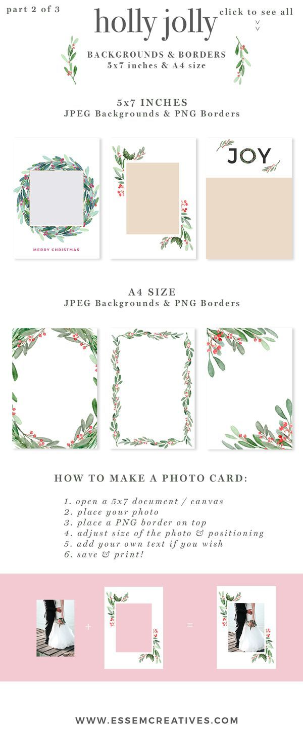 Watercolor Christmas Wreath Clipart Christmas Card Templates 5x7 A4 Christmas Watercolor Christmas Photo Card Template Christmas Card Template