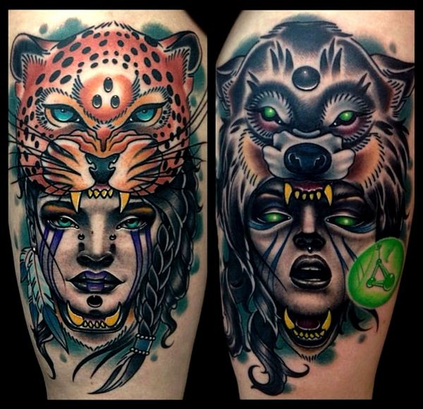 Tattoos Wolf Tattoos Headdress Tattoo: Woman With Animal Head Dress