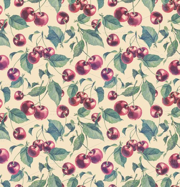 Check out Seamless pattern with cherry. by Astromonkey on Creative Market