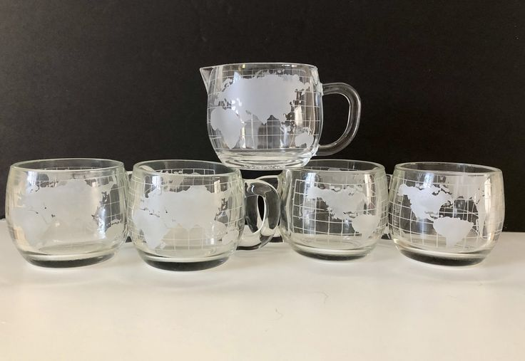5 Vintage Nestle Nescafe Etched Clear Glass World Globe Coffee Mugs Cups