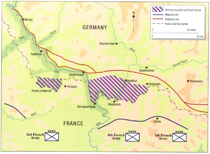 """Map showing the disposition of French forces and territory occupied during the Saar Offensive.The attack did not result in any diversion of German troops. The 40-division all-out assault never materialised.  On 12 September, the Anglo French Supreme War Council gathered for the first time at Abbeville in France. It was decided that all offensive actions were to be halted immediately. General Maurice Gamelin ordered his troops to stop """"not closer than 1 kilometre"""" from the German positions."""