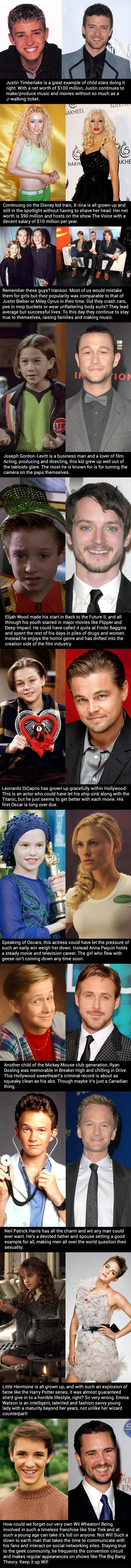 In light of the trainwrecks of Miley Cyrus and the continual up/down of Lyndsey Lohan and others lets look at child stars who didn't give in to the destructive side of fame…
