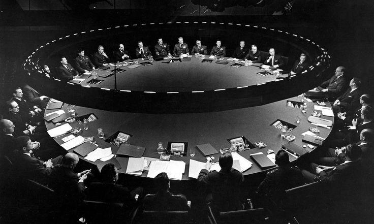 The War Room in Stanley Kubrick's Dr Strangelove. One of cinema's most influential film sets designed by Ken Adam