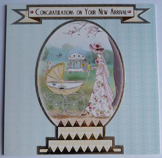 New Born Baby Handmade Card, Baby Shower Card, Baby Greeting Card, Baby Boy Card, Baby Girl Card, Art Deco Baby Card, New Arrival Card