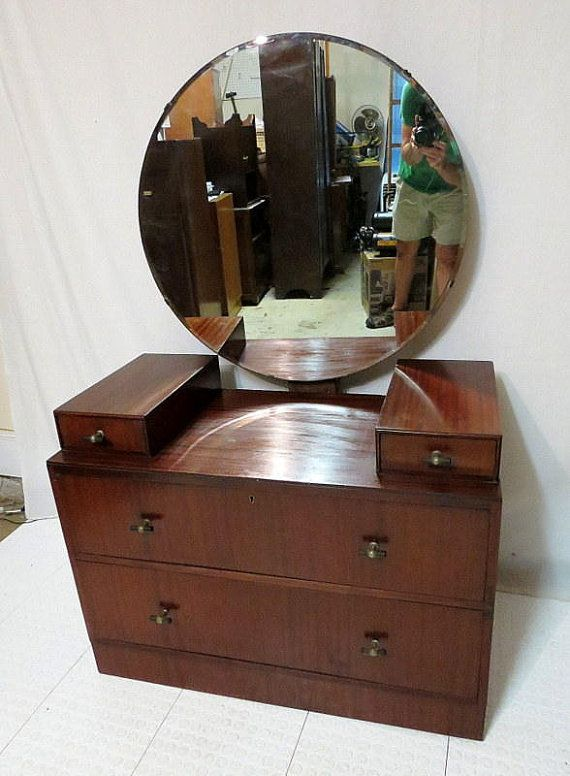 Vintage Antique Mahogany Dressing Table Vanity W Round Mirror Chest Of 4 Drawers Dresser Mid Century Modern Art Deco Pulls Bedroom