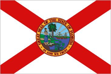 The Florida state flag, with cross added to seal, was addopted in 1900. Many flags have flown over this state: Spain, France, England, the Confederacy, and the U.S. flag.