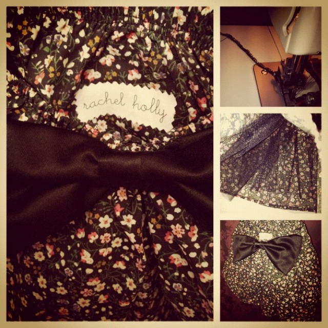 Vintage floral skirt with bow and netting