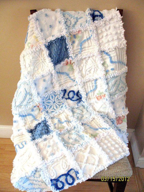 Plush Lush White and Blue Vintage Chenille Baby Boy Rag Quilt Blanket