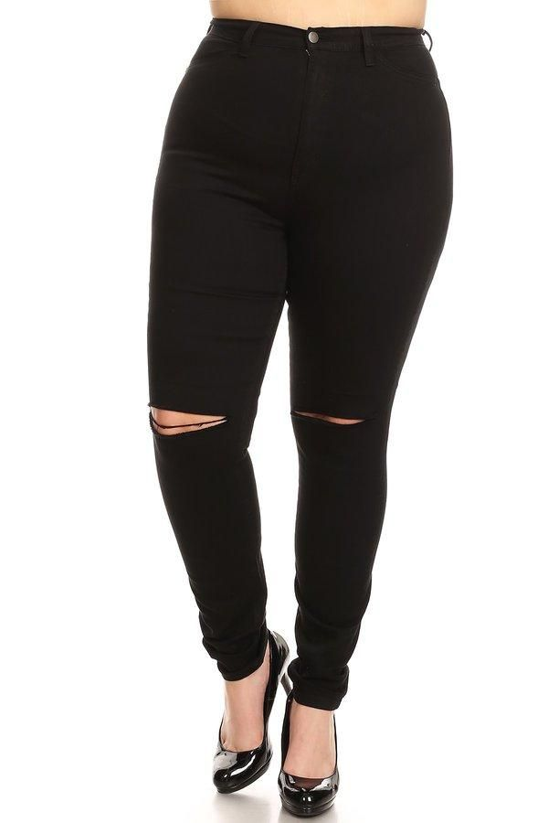 High Waist Skinny Jeans Knee Cut