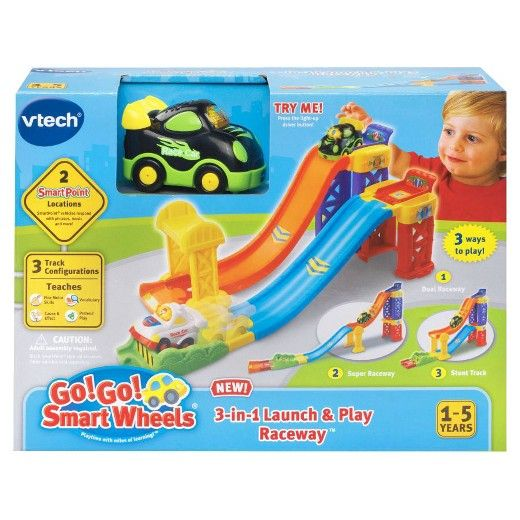 Race Through Vtech Rsquo S Go Go Smart Wheels 174 3 In 1 Launch Play Raceway 153 Build Motor Skills By Rearranging The Tracks To Create A Dual R Playset