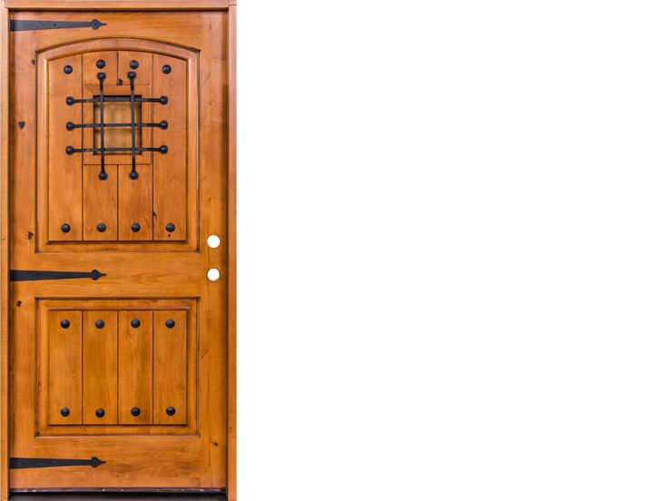 krosswood knotty alder 2 panel top rail arch with vgrooves door wspeakeasy kit clavos and strap hinges
