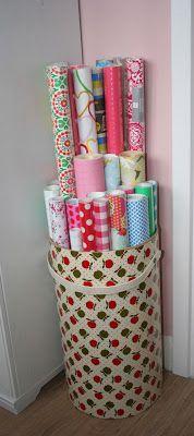 Mijn cadeaupapier slingert altijd overal rond. Kristel versierde een mooie waston van de kringloop met papier, en gebruikt hem nu als opslag!