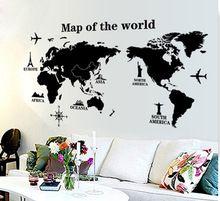Grande mapa do mundo adesivos de parede decalques de vinil menino a sala de aula de escritório personalizado papel sala decoração(China (Mainland))