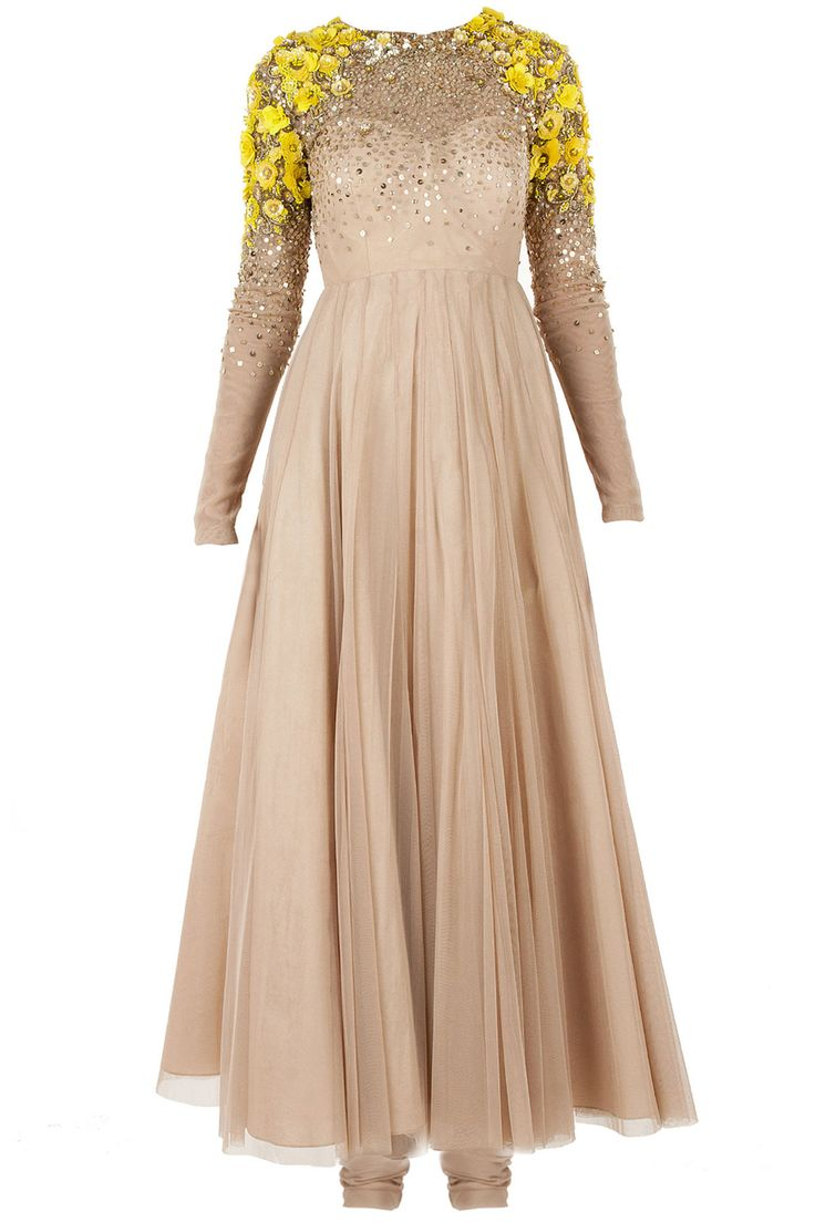 Nude victorian anarkali available only at Pernia's Pop-Up Shop.