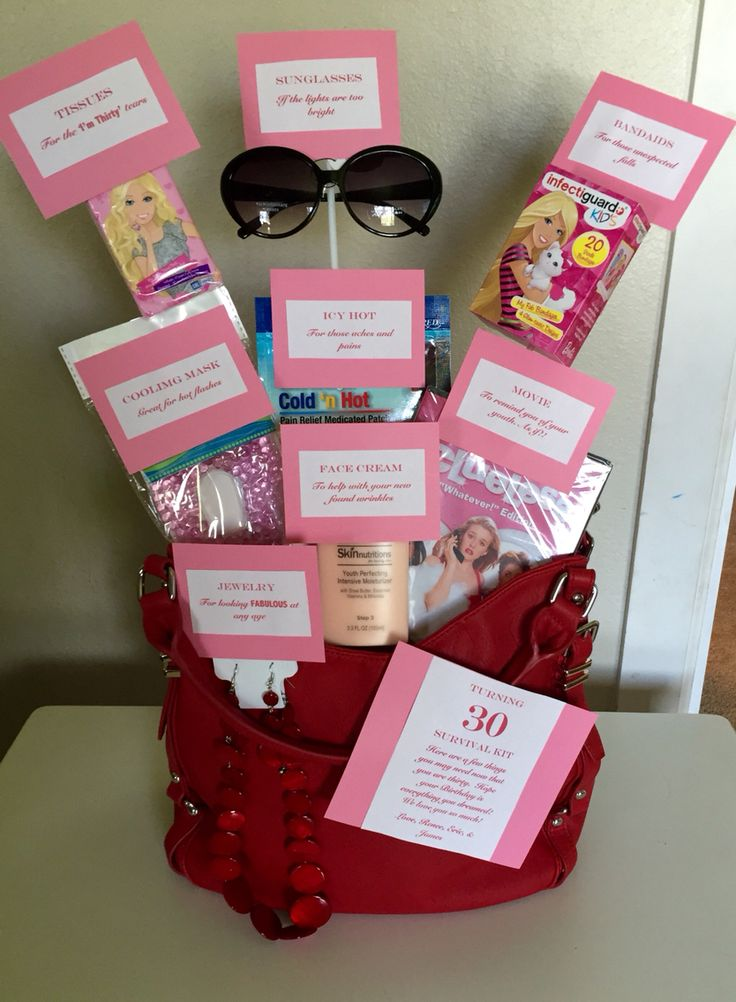 30th Birthday Survival kit: Band aids-for those unexpected falls Icy hot- for those aches and pains  Face cream- To help with your new found wrinkles Sunglasses-if the lights are too bright Movie-to remind you of your youth! As if! Cooling mask- amazing for hot flashes.  Tissues- for the 'I'm thirty' ugly cry.  Necklace- for looking fabulous at any age!