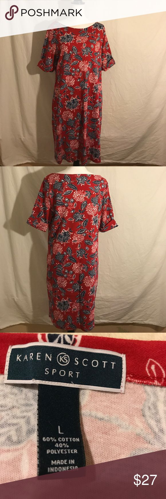 Karen Scott Sport Dress, Size Large This dress is like new.  It was only worn one time on vacation.  It is 60% cotton and 40% polyester.   Pit to pit is 21 Inches Length is 38 Inches Karen Scott Dresses