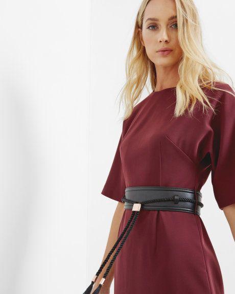 Belted kimono dress - Oxblood   Dresses   Ted Baker UK
