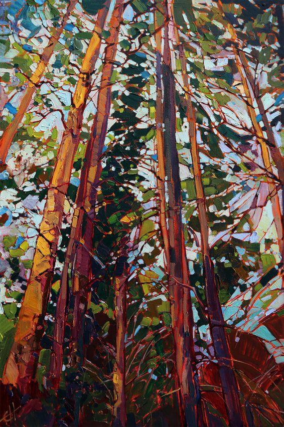 "Oregon Pines Modern Impressionist Landscape Original Oil Painting Erin Hanson 36"""