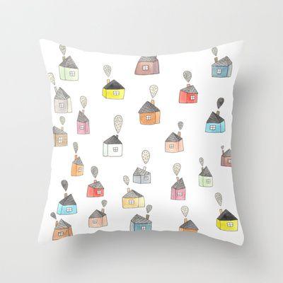 les petites maisons douillettes Throw Pillow by Mirtle - $20.00