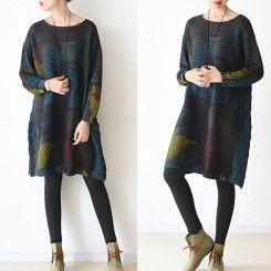 2016 winter dress Sapphire print sweaters oversized woolen knit dresses