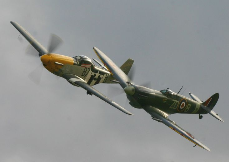 The two best fighter planes of WWII, the P51 Mustang and the Supermarine Spitfire. Both used the Rolls Royce V12 Merlin engine or the licensed copy built in North America.
