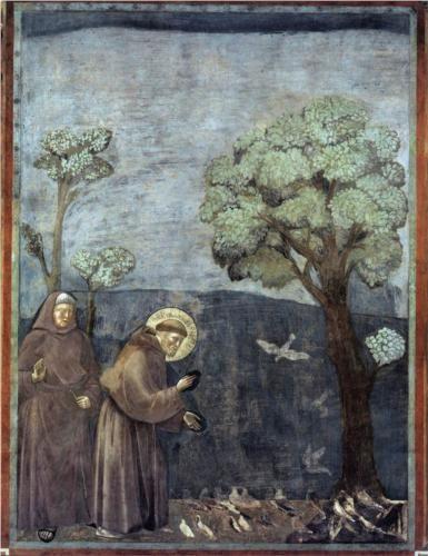 St. Francis Preaching to the Birds - Giotto.  1297-99.  Fresco.  270 X 200 cm.  San Francesco, Upper Church, Assisi, Italy.