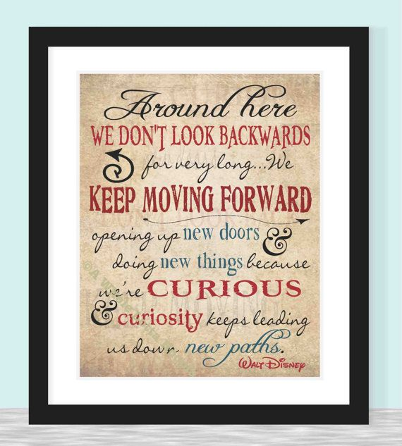 Wall Art Quotes Disney : Walt disney quote typography print keep moving forward
