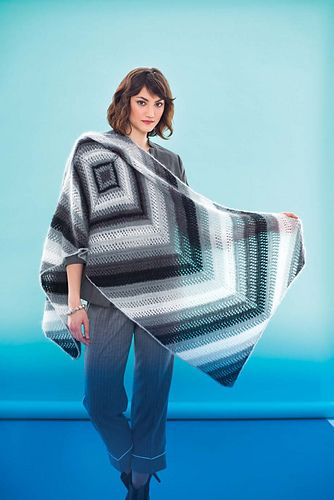 Simple yet striking, a rectangular wrap alternates garter-ridge and mesh bands in a graphic pattern of mirrored chevrons. Yarn-over increases create the shape. The stripe sequence, worked in four neutral shades of Valley Yarns' silk/mohair Southampton, broadens as it travels from the center outward. Knit using two strands held together throughout, the wrap is substantial enough for winter wear yet light enough to drape in a variety of ways.