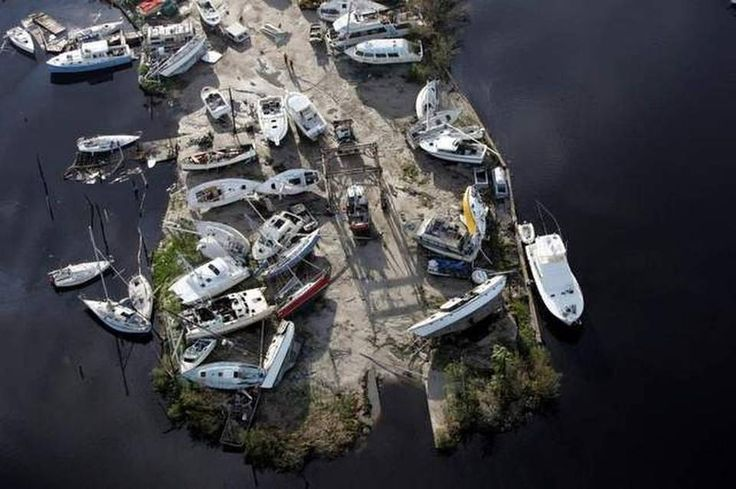 AFTER THE STORM: In 2004, Hurricane Charley left a jumble of boats piled up on Pine Island, on Florida's Gulf Coast.