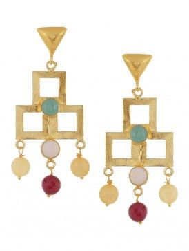 Rose Quartz and Chalcedony Gold-plated Brass Earrings