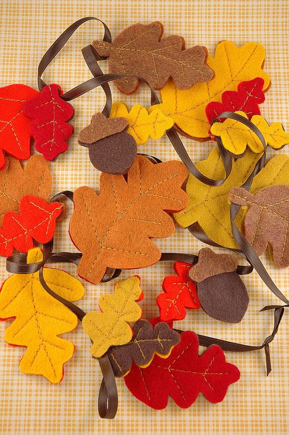 Fall Leaves and Acorns in a Colorful Garland with burlap triangles for Thanksgiving banner