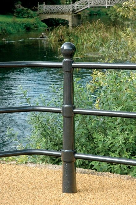 Godmanchester MDC Ductile Iron 3 Rail - Street Furniture Ductile iron 3 rail post system with ball finial detail available with galvanized, painted or stainless steel rails.