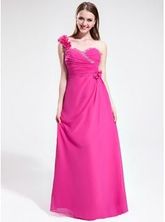 Prom Dresses - $157.99 - A-Line/Princess One-Shoulder Floor-Length Chiffon Prom Dress With Ruffle Beading Flower(s)  http://www.dressfirst.com/A-Line-Princess-One-Shoulder-Floor-Length-Chiffon-Prom-Dress-With-Ruffle-Beading-Flower-S-018025591-g25591